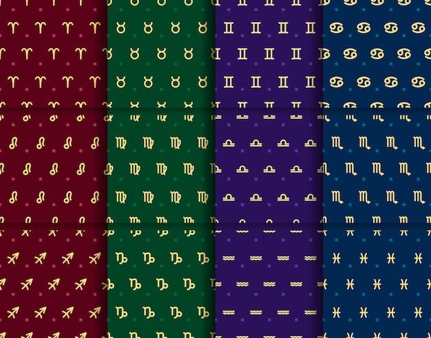 Conjunto de vetores de padrões sem emenda de signos dourados do zodíaco coleção de elementos de horóscopo repetidos