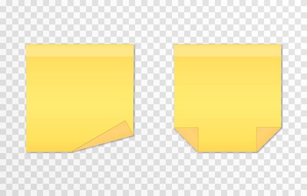 Conjunto de vetores de papéis para anotações em um fundo transparente isolado nota realista folha de papel