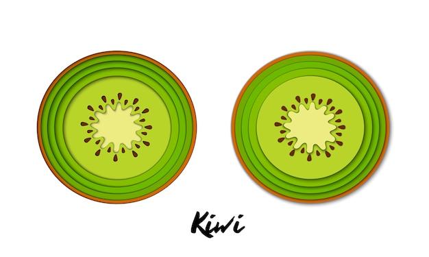 Conjunto de vetores de papel cortado kiwi verde