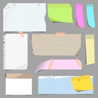 Conjunto de vetores de papel de nota em branco.