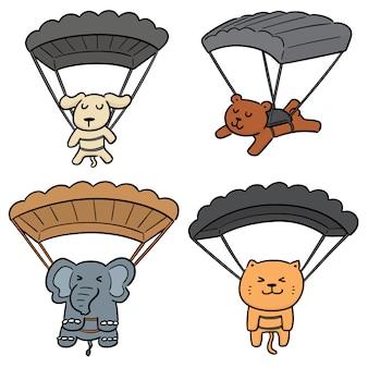 Conjunto de vetores de paraquedas de animais