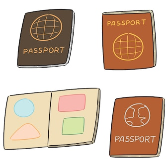 Conjunto de vetores de passaporte Vetor Premium