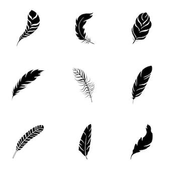 Conjunto de vetores de penas. ilustração em forma de pena simples, elementos editáveis, podem ser usados no design de logotipo