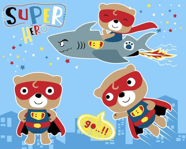 Conjunto de vetores de pequeno desenho animado de super herói