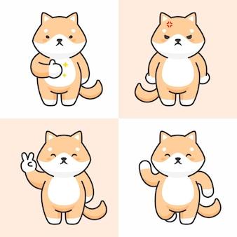 Conjunto de vetores de personagens de cachorro bonito shiba inu