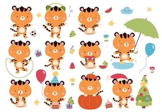 Conjunto de vetores de personagens de desenhos animados kawaii de tigres