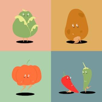 Conjunto de vetores de personagens de desenhos animados vegetais frescos