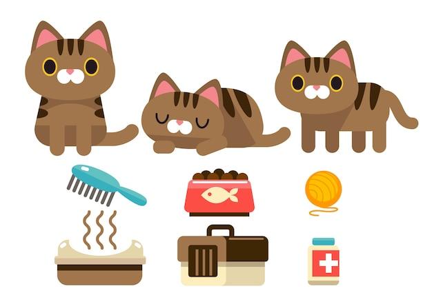 Conjunto de vetores de personagens de gato fofos com alguns objetos isolados no fundo branco