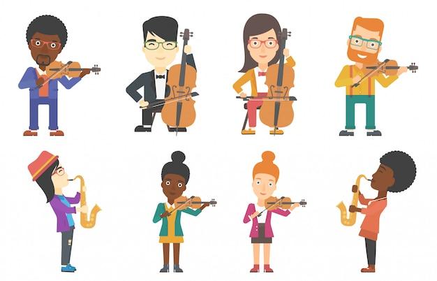 Conjunto de vetores de personagens de músicos.
