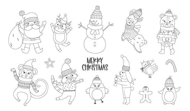 Conjunto de vetores de personagens de natal em preto e branco. papai noel com saco, animais engraçados, ícones de linha de boneco de neve isolados no fundo branco. ilustração de inverno bonito para decoração ou projeto de ano novo.