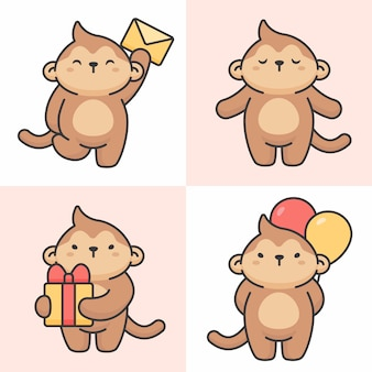 Conjunto de vetores de personagens fofinhos de macaco