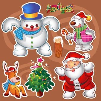 Conjunto de vetores de personagens fofinhos natal colorido e decorações