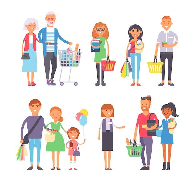 Conjunto de vetores de pessoas compras.