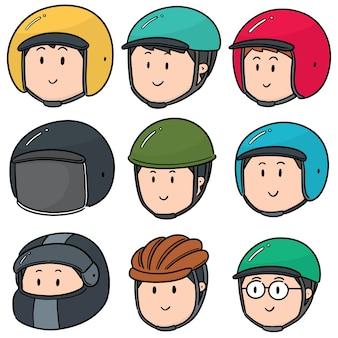 Conjunto de vetores de pessoas usando capacete