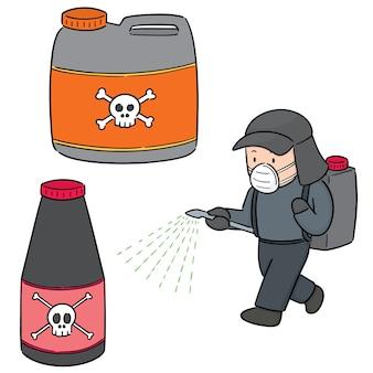 Conjunto de vetores de pesticidas e agricultor