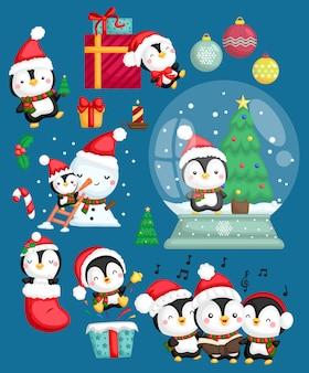 Conjunto de vetores de pinguim santa