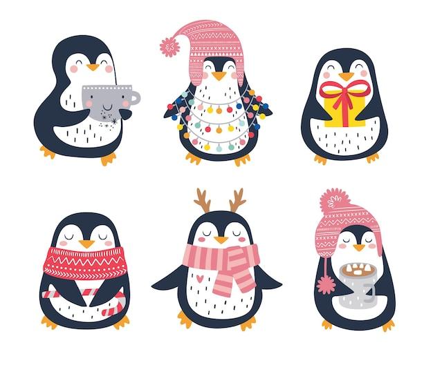 Conjunto de vetores de pinguins engraçados e fofos desenhados à mão