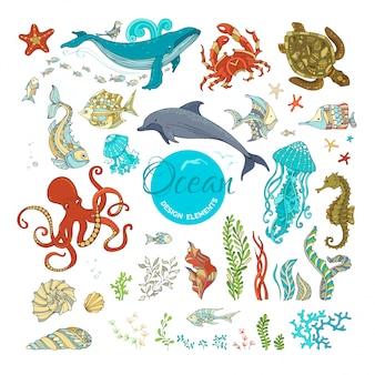 Conjunto de vetores de plantas e animais selvagens dos desenhos animados