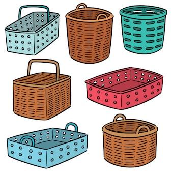 Conjunto de vetores de plástico e cesta de vime
