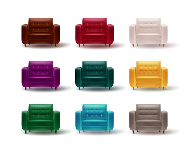 Conjunto de vetores de poltronas vermelhas, marrons, brancas, roxas, verdes, cinza, amarelas, turquesas para o interior de casa ou escritório isolado no fundo branco