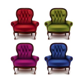 Conjunto de vetores de poltronas vintage vermelhas, verdes, violetas, roxas e azuis isoladas no fundo branco