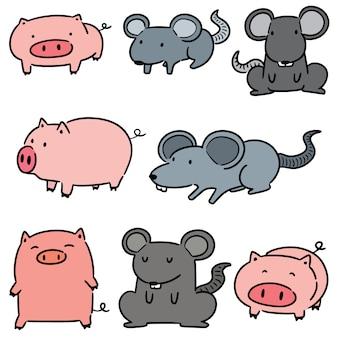 Conjunto de vetores de porco e rato