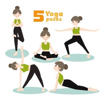 Conjunto de vetores de poses de ioga dos desenhos animados.