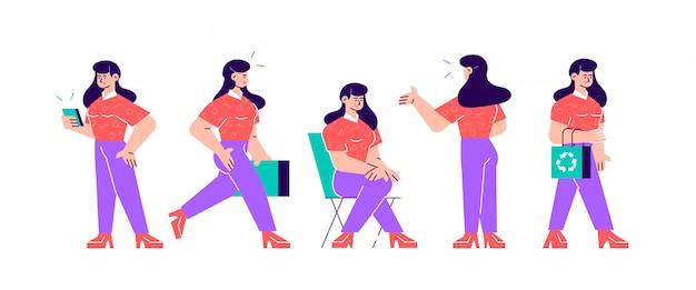 Conjunto de vetores de poses de personagens de negócios e ações. uma empresária linda em pé com os braços cruzados, falando no telefone, encolher os ombros, segurando o dedo.