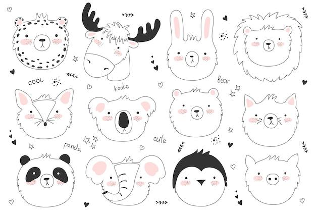 Conjunto de vetores de pôster fofo com animal engraçado e texto fofo