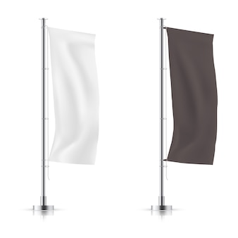 Conjunto de vetores de preto e branco agitando bandeira bandeira de propaganda. maquete do vetor.