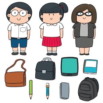Conjunto de vetores de professor e aluno