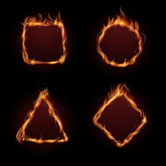 Conjunto de vetores de quadro de chama de fogo quente