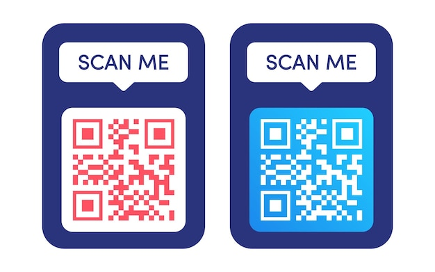 Conjunto de vetores de quadro de código qr scan me tag código qr mock up ícone de id de smartphone de código de barras pagamento móvel e