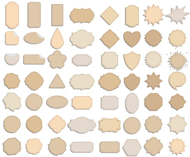 Conjunto de vetores de quadro de etiqueta de marca de papel