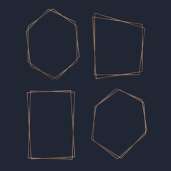 Conjunto de vetores de quadro de polígono em branco dourado