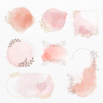Conjunto de vetores de quadro em estilo aquarela de ornamento floral rosa
