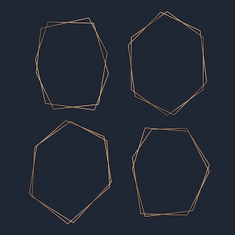 Conjunto de vetores de quadro hexágono em branco dourado