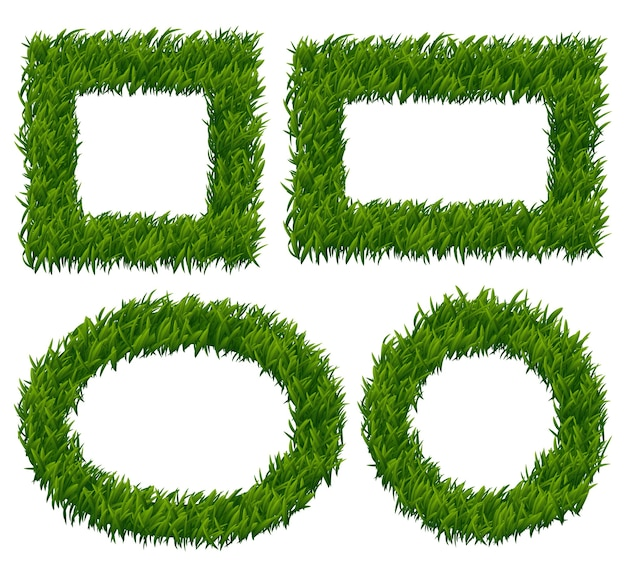 Conjunto de vetores de quadros de grama verde. planta da natureza, padrão de erva, ilustração de borda de crescimento ecológico