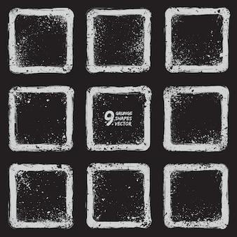 Conjunto de vetores de quadros de grunge