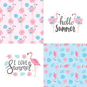 Conjunto de vetores de quatro cartões de verão com frutas e frases. belos cartazes para o quarto ou quarto das crianças. fundos com frutas de verão, sorvete, folhas tropicais e coquetéis. letras desenhadas à mão.