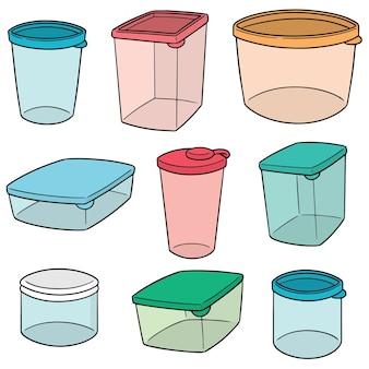 Conjunto de vetores de recipiente de plástico