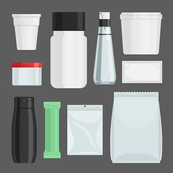 Conjunto de vetores de recipientes de cosméticos