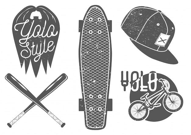 Conjunto de vetores de rótulos de esporte vintage e logotipo