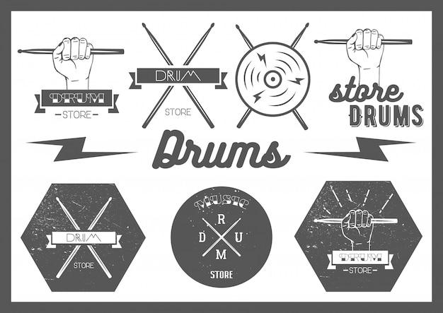 Conjunto de vetores de rótulos de tambores de estilo vintage
