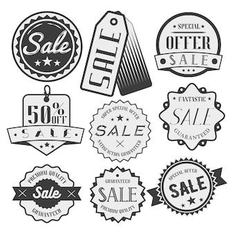 Conjunto de vetores de rótulos de venda e desconto