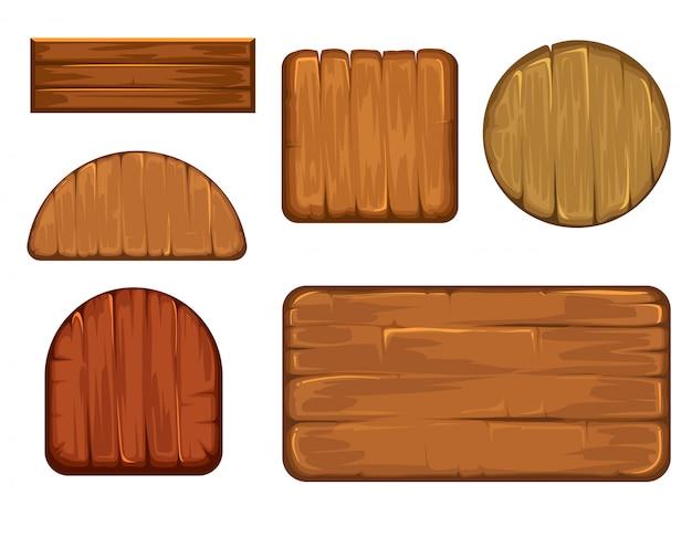 Conjunto de vetores de rótulos retrô de madeira.