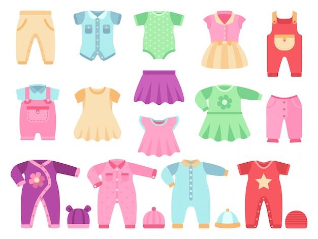 Conjunto de vetores de roupas de menina bebê colorido