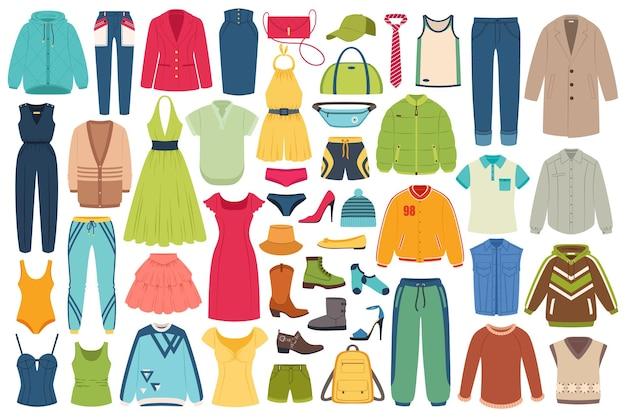 Conjunto de vetores de roupas e acessórios da moda, mulheres, homens, chapéu casual, cueca, roupas esportivas, roupas