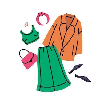 Conjunto de vetores de roupas femininas de moda brilhante verde moderno rosa e laranja moderno casual