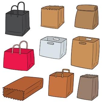 Conjunto de vetores de saco de papel